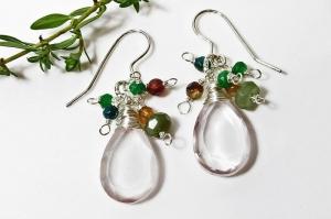 Handgefertigte Ohrhänger *Rosaly* 935 Silber Rosenquarz entdecken - Handarbeit kaufen