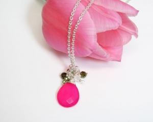 Halskette *Floria* pink Chalzedon handgefertigt Sterlingsilber - Handarbeit kaufen