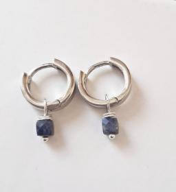 Mini Creolen Wechsel  Ohrringe Einhänger Edelsteine 925 Silber versilbert - Handarbeit kaufen