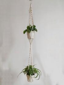 Zweistöckige Blumenampel Elia | plant hanger | Boho | Entho | Bohochic | Pflanzen | creme | urban jungle
