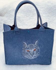 Tasche Katze Filz Shopper, Unikat, Einkaufstasche,Tragetasche, Katzen Kopf Handgenähte und Bestickte