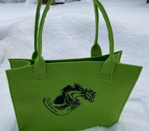 Pferd mit Hufeisen Tasche aus Filz Hell Grün, Shopper, Unikat, Einkaufstasche,Tragetasche Handarbeit gestickt