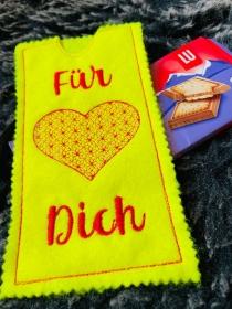 Schokoladen Tasche Geschenkverpackung Schokoladenhülle Geschenk Für Dich   - Handarbeit kaufen