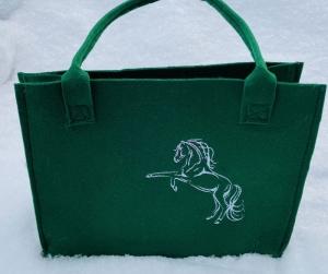 Tasche mit Pferd Shopper, Unikat, Einkaufstasche,Tragetasche,  Handgenähte und Bestickte - Handarbeit kaufen