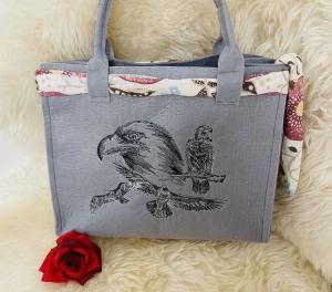 Adler Handgenähte und Bestickte Tasche aus Filz Grau, Shopper, Unikat, Einkaufstasche,Tragetasche,  - Handarbeit kaufen