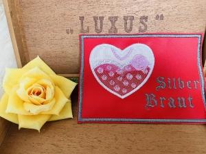 Mug Rug Silber Hochzeit Tischdeko Türschild Hochzeit Gestickt auf Leder 2 Stück  - Handarbeit kaufen