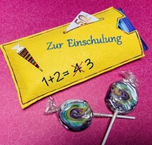 Einschulung Schulanfang Geschenkverpackung Schokoladenhülle Geschenk mit Geldfach - Handarbeit kaufen