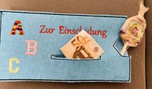 Zur Einschulung Schulanfang Geschenkverpackung Schokoladenhülle Geschenk A B C  - Handarbeit kaufen