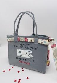 Camper Einkauf Shopper Einkaufstasche Tasche Wohnmobil Im Hotel...Filztasche bestickt  - Handarbeit kaufen