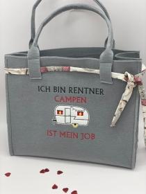 Filztasche bestickt Camper, Einkauf, Shopper, Einkaufstasche, Tasche,Wohnwagen Im Hotel...