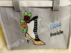 Filztasche bestickt Schuhe, Einkauf, Shopper, Einkaufstasche, Tasche,Zicke
