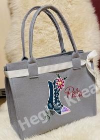 Filztasche bestickt Schuhe, Einkauf, Shopper, Einkaufstasche, Tasche,Relaxe