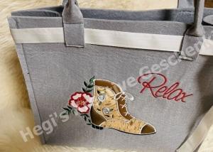 Filztasche bestickt Schuhe, Einkauf, Shopper, Einkaufstasche, Tasche,Relaxe (Kopie id: 100273001) - Handarbeit kaufen