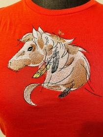 Kinder T-Shirt Bestickt Gr.128 mit Pferd Pferdekopf Rot - Handarbeit kaufen