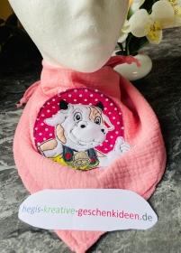 Musselinschal Tuch Halstuch rosa Motiv  - Handarbeit kaufen