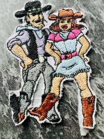 Stickbild aufbügeln Bügelbilder USA Applikation Country Tanz Paar - Handarbeit kaufen