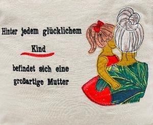 Kissen Kuschelkissen Kind Mutter Applikation handarbeit 40x40 cm Mutter Kind   - Handarbeit kaufen