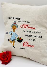 Kissen Kuschelkissen Mamma Oma Voll Stick handarbeit 40x40 cm Mutter Kind    - Handarbeit kaufen