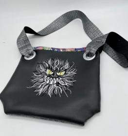 Tasche Umhängetasche Handtasche Festival Bag Lustiges Monster schwarz - Handarbeit kaufen