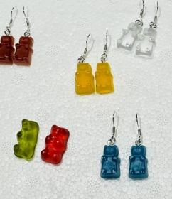 Ohrhänger Gummibär Ohrringe Bärchen Bär Hängeohrringe Silber handgefertigt - Handarbeit kaufen