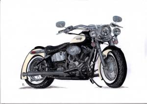Harley Davidson Zeichnung, Caran d'ache luminance Farbstifte und Faber Castell Albrecht Dürer Aquarellstifte auf Mixed Media Papier gezeichnet  kaufen - Handarbeit kaufen