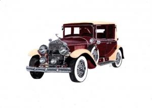 Oldtimer Cadillac La Salle, realistische Zeichnung eines Oldtimers, auf Mixed Media Papier mit Caran d'ache luminance Farbstiften gezeichnet,  kaufen - Handarbeit kaufen
