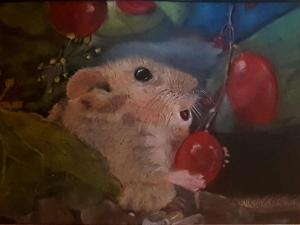 Realistische Pastelzeichnung einer Maus, gezeichnet mit Pan Pastel auf schwarzem Mixed Media Papier in der Größe 24 x 14 cm zu kaufen - Handarbeit kaufen