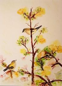 Zwiegespräch. Aquarellmalerei eines Vogelpaares im Zwiegespräch. Gemalt mit Soft Brush Stiften auf Hahnemühle Aquarellpapier. Zu kaufen. Größe des Bildes 24 x 32 cm