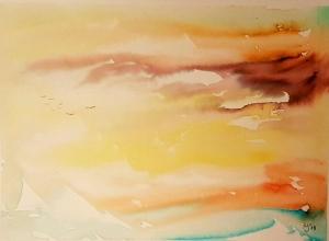 Über'm Meer, Aquarellmalerei mit Soft Brush Pen auf Aquarellpapier, Größe des Bildes 24 x 39 cm, zu kaufen