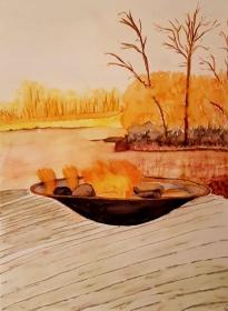 Feuerschale, romantische Aquarellmalerei, Abendstimmung am Steg mit Blick auf den See, Größe des Bildes 29,5 x 40 cm, zu kaufen
