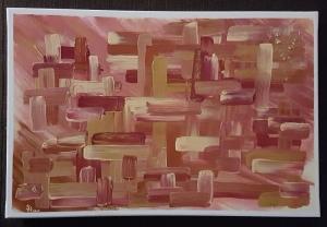 City, Abstrakte Acrylmalerei auf Leinwand, Größe der Leinwand DIN A3, zu kaufen
