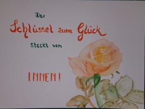 Aquarellmalerei einer Rose mit Text - Der Schlüssel zum Glück steckt von innen - Größe des Bildes 24 x 39 cm, zu kaufen