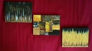 3er Set, Abstrakte Acrylmalerei mit Goldglitter, auf Leinwand, Größe je Bild 23 x 18 cm, zu kaufen