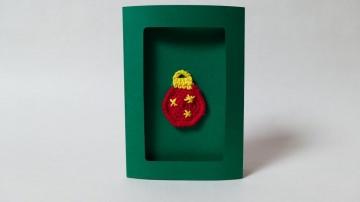 Weihnachtskarte mit gehäkelter Christbaum-Kugel-Applikation ♥