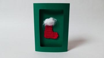 Weihnachtskarte mit gehäkelter Stiefel-Applikation ♥
