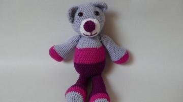 Gehäkelter, rosa-gestreifter Teddybär für Kinder ♥