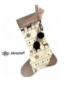Genähter Nikolausstiefel / Kaminsocke, Weihnachtsdekor, Adventsdekor, befüllbarer Nikolaus Stiefel zum Aufhängen