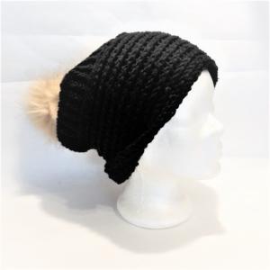 Warme Strickmütze mit Fellbommel, Wollmütze, gestrickte Wintermütze, Damenmütze, Herrenmütze, Unisex Strickmütze