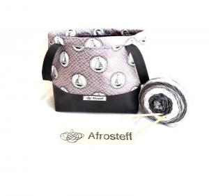 Handarbeitstasche XL, Projekttasche mit Kunstleder, projectbag knitting, Strandtasche, Wolle Aufbewahrung, Strickbeutel, Wolltasche, genäht