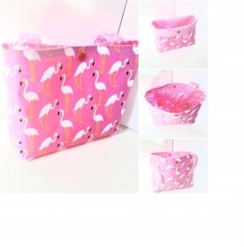 Lenkertasche, Laufradtasche, Betttasche, Fahrradtasche, Lenkradtasche mit Flamingo Motiv