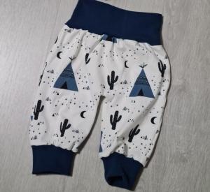 Babyhose / Pumphose in der Farbe dunkelblau und Muster (Zelt, Kaktus) ♡ - Handarbeit kaufen