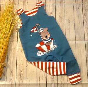 Strampler Baby Sommersweat Gr. 68 maritim Captain Weltenbummler, Latzhose Overall Romper Spieler Baby, handmade - Handarbeit kaufen