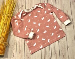 Pullover Baby Gr. 80 altrosa Schwan Herzen, Langarmshirt Mädchen, handmade - Handarbeit kaufen