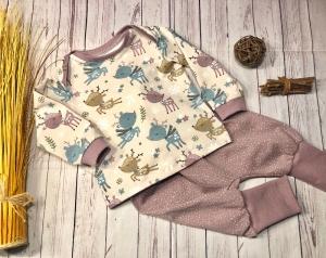 Set Baby Pumphose und Pullover Gr. 74 Bio-Jersey Winterreh altrosa, handmade, Babyhose und Langarmshirt Mädchen