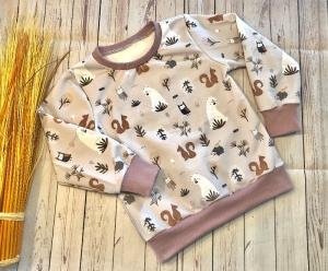 Pullover Baby Gr. 104 French Terry Waldtiere Fuchs Reh, Bio, Sommersweat, steingrau altrosa, handmade - Handarbeit kaufen