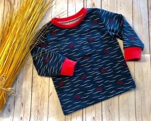 Pullover Baby Gr. 74 maritime Anker marineBlau mit rot Langarmshirt Baby, Jersey, Shirt, Oberteil Baby