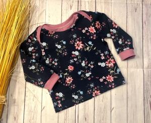 Pullover Baby Gr. 68 Bio-Jersey Blütentraum Marine Beere, Langarmshirt Baby, Shirt, Oberteil - Handarbeit kaufen