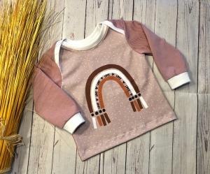 Pullover Baby Gr. 68 Regenbogen Altrosa, Langarmshirt Baby, Oberteil, Shirt - Handarbeit kaufen