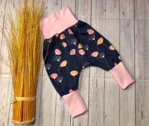 Pumphose Baby Pusteblume Gr.62/68 marineblau rosa, Babyhose Mädchen, Mitwachshose - Handarbeit kaufen