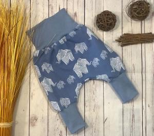 Pumphose Baby Gr.74/80 Elefant stonewashed blau, Bio-Jersey, Babyhose Jungen, Mitwachshose - Handarbeit kaufen